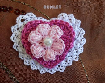 rose crochet heart