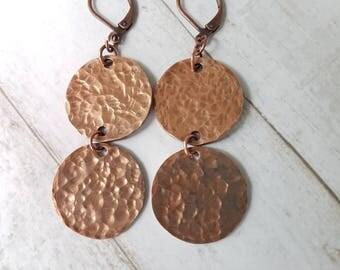 Hammered Penny Earrings - Dangle Circle Earrings - Bohemian Earrings - Rustic Earrings - Tribal Earrings - Hoop Earrings