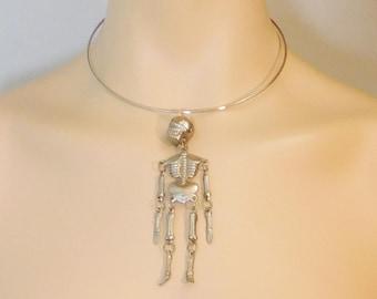 Large Skeleton Pendant, Silver Tone, Design on both sides, Blue Rhinestone Eyes, Dimensional, Wire Hoop Choker, Geek, Science, Steampunk,