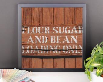 Framed photo paper poster - Red Silo Original Art - Flour Sugar & Bean