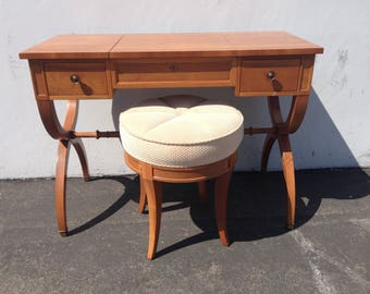 Vanity Table Desk Writing X Base Kindel Table Stool Makeup Vintage Regency Mid Century French Provincial Shabby Glam Wood CUSTOM PAINT AVAIL