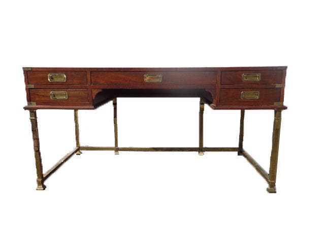 vintage campaign desk gold brass base tooled leather top mid century desk mcm asian chinoiserie storage console bohemian boho chic writing