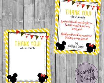 Minnie & Mickey Mouse Thank You Card, Mickey and Minnie Mouse Twin Birthday, Boy and Girl Twin Birthday Party, Thank You Card, Digital