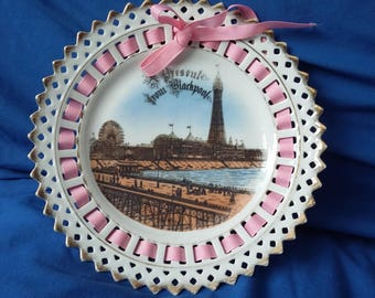 Vintage Ribbon Plate A Present From Blackpool