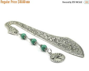 SALE Metal Bookmark Dragonfly Charm Green Beaded Book Mark