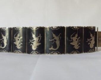 """Vintage Sterling Silver Wide Siam Dancer Bracelet Estate Find 6.5"""" 39 mm 56 gr"""