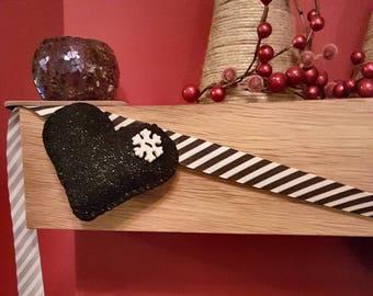 Black Sparkly Felt Heart Christmas Garland