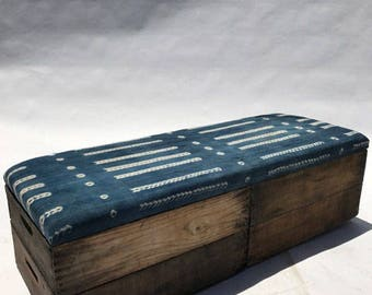 Upholstered Crate Storage Bench - Printed Denim