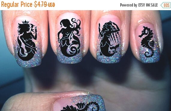 On sale mermaids nail art decals with seahorses nail art decals on sale mermaids nail art decals with seahorses nail art decals mm1 48 waterslide transfer decal nail art stickers for any polish from northofsalem on prinsesfo Choice Image