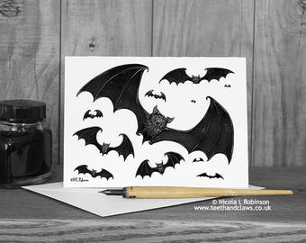 Vampire Bats Card, Halloween Card, Bat Greeting Card, Bat Note Card, Gothic Card, Happy Halloween, Birthday Card, Thank you Card, Blank Card
