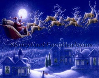 Santa Claus and Reindeer ~ Christmas ~ Cross Stitch Pattern in Color & in BlkWht Symbols ~ Download