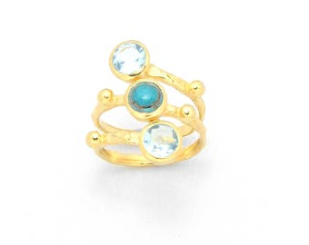 18K Gold filed Blue Topaz and Copper Turquoise Ring