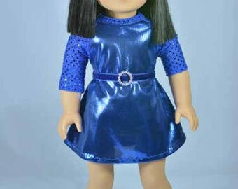 American Girl or 18 Inch Doll Party Evening DRESS in Royal Blue Lame and Sequins NECKLACE SHOES Option