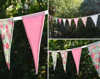 Handmade Fabric Bunting in Pink Peony/Rosebud/Pink Scroll/Plain Pink & Grey Design 18 Large Double-sided Flags for Home, Parties and more!