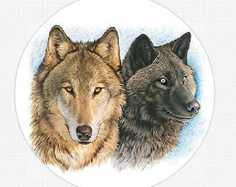 Two Wolves 24 Round Envelope Seals Labels Stickers Buy 3 sheets get 1 Free