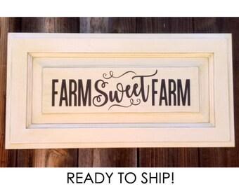 Farm Sweet Farm, Repurposed Cabinet Door, Farm Sign, Farm Style, Farmhouse Sign, Recycled Door, Shabby Chic Decor, Home Decor, Farm Life