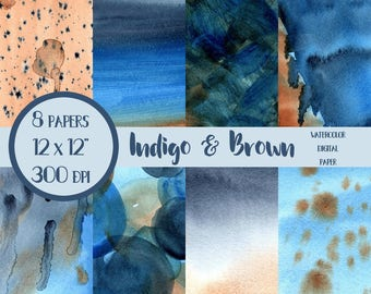 Indigo and Brown Watercolor Washes, Blue Watercolor Wash, Blue Watercolor Textures, Blue and Brown, Watercolor Background