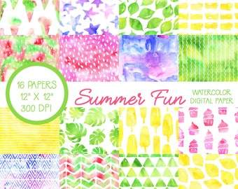Watercolor Scrapbook Paper, Summer, Digital Paper, Digital Scrapbook, Digital Paper Pack, Colorful