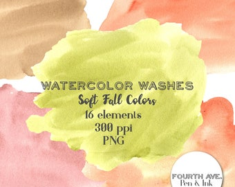 Watercolor Clipart, Watercolor Wash Clipart, Fall, Autumn, Soft, Watercolor Textures Clipart, Swashes, Brushstrokes