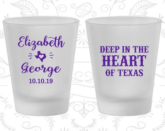 Deep in the Heart of Texas, Promotional Frosted Glassware, Texas Wedding, Texas, Frosted Shot Glasses (237)