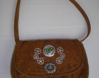 Steampunk bag,  eye bag, shoulder bag,clutch bag, tooled leather bag