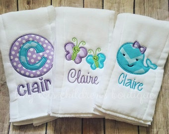 Set of 3 Personalized Burp Cloths - Girl Burp Cloth Set - Purple Turquoise Monogram Burp Cloth - Newborn Baby Girl - Custom Burp Cloth