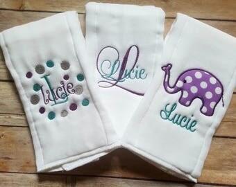 Set of 3 Burp Cloths - Personalized Burp Cloths - Monogram Burp Cloth - Girls Burp Cloth Set - Newborn - Baby Girl