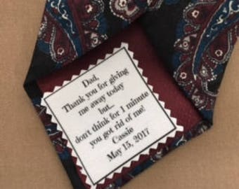 CUTE SKINNY TIE Patch - Father of the Bride - Iron On or Sew On -  2 x 2 Printed Wedding Tie Patch, Father of Groom, Groom