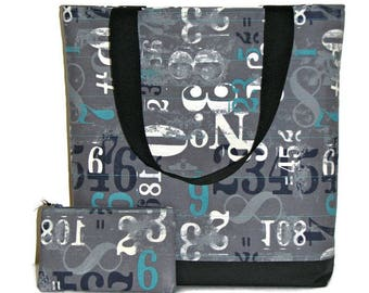 Quilted Tote Bag and Matching Zippered Pouch, Modern Canvas Tote Bag Set, Grey and Turquoise Grunge Fabric, Quiltsy Handmade