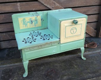"1930's 12"" Toy Electric Oven - Vintage All Metal Child Size Toy Stove"