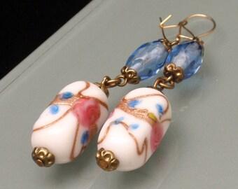 Italian Glass Drop Earrings Vintage