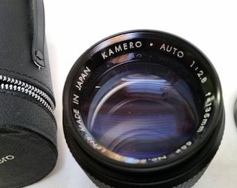 Kamero camera lens f=135mm 1:2.8 with both caps and Kamero case
