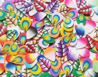 Mini Feather Leaves Leaf Slice Fimo Confetti Shapes Slime Nail Art Crafting Tiny shapes Rainbow Multicolor small mini miniature confetti