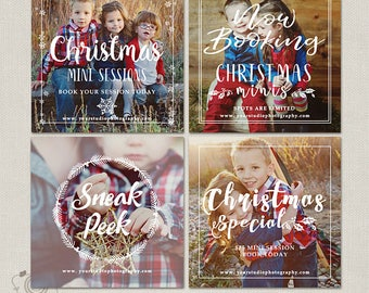 Christmas Mini Session Templates - Holiday Photography Marketing Board - Instagram Facebook Promotion - Holiday Minis Flyer - Bundle 116