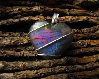 Labradorite heart pendant purple