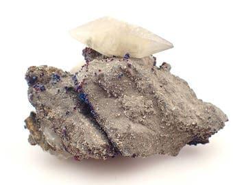 Calcite on matrix with Chalcopyrite from Brushy Creek mine, Missouri - 635gm / 140mm x 90mm x 80mm (F