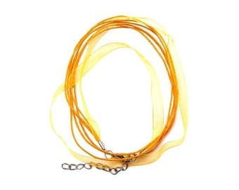 2 Orange 43 cm yellow waxed cotton thread and organza Ribbon necklaces