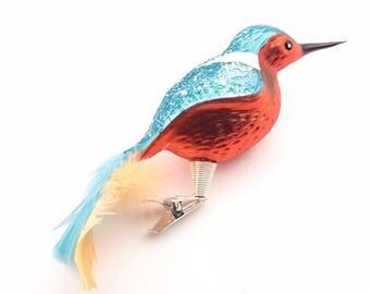 Czech hand blown glass kingfisher bird Christmas tree ornament SKU 717