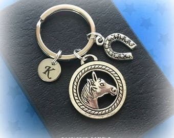 Horse charm keyring - Personalised horse keychain - Horse riding gift - Horse keyring - Horse riding keyring - Stocking filler - UK gift