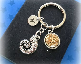 Initial ammonite keyring - Gift for geologist - Ammonite charm keyring - Fool's gold - Geology gift - Rocks and fossils - Geologist gift
