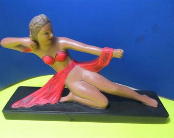 Vintage Rare Alexander Backer ABCO Chalkware Art Deco Style Girl Lady Sculpture Figurine Repaired