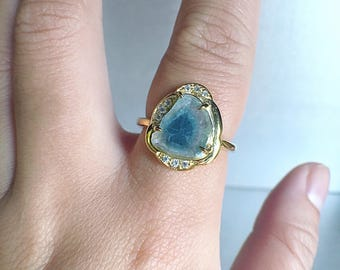 Tourmaline slice ring, blue tourmaline ring, october birthstone, tourmaline ring, ooak jewelry, raw crystal jewelry, gemstone ring, Zeba