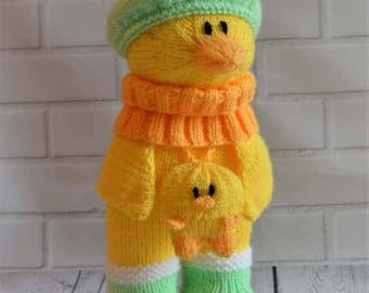 KNITTING PATTERN - Duck in Boots Soft Toy Knitting Pattern Download From Knitting by Post