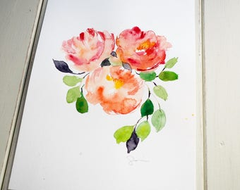 Original watercolor art, red and orange