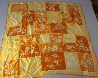 "Vera Neumann Ladybug Scarf Fall Colors Acetate 26"" Square Orange Yellow Retro"