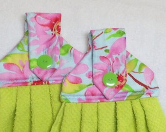Green and Pink Flowered- Hanging Kitchen Towels