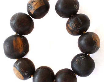 African hand carved Ebony wood Silver Copper Inlaid Beads Jewelry supplies # 2266