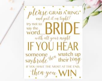 Gold Don't Say BRIDE Game Printable, Bridal Shower Games Printable, Bridal Shower Game, Bridal Shower Printable Games, Gold Games BRS1
