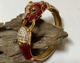 Vintage Panther Bangle Bracelet / By Noir / Oval Clamper Bracelet / Enamel and Rhinestone