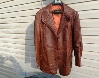 Mans 1960s vintage brown 3 button vintage leather jacket,coat by Adler USA  size 44,or Large nice patina